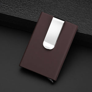 Anti RFID Card Holder With Money Clip - Automatic Pop Up Card Wallet
