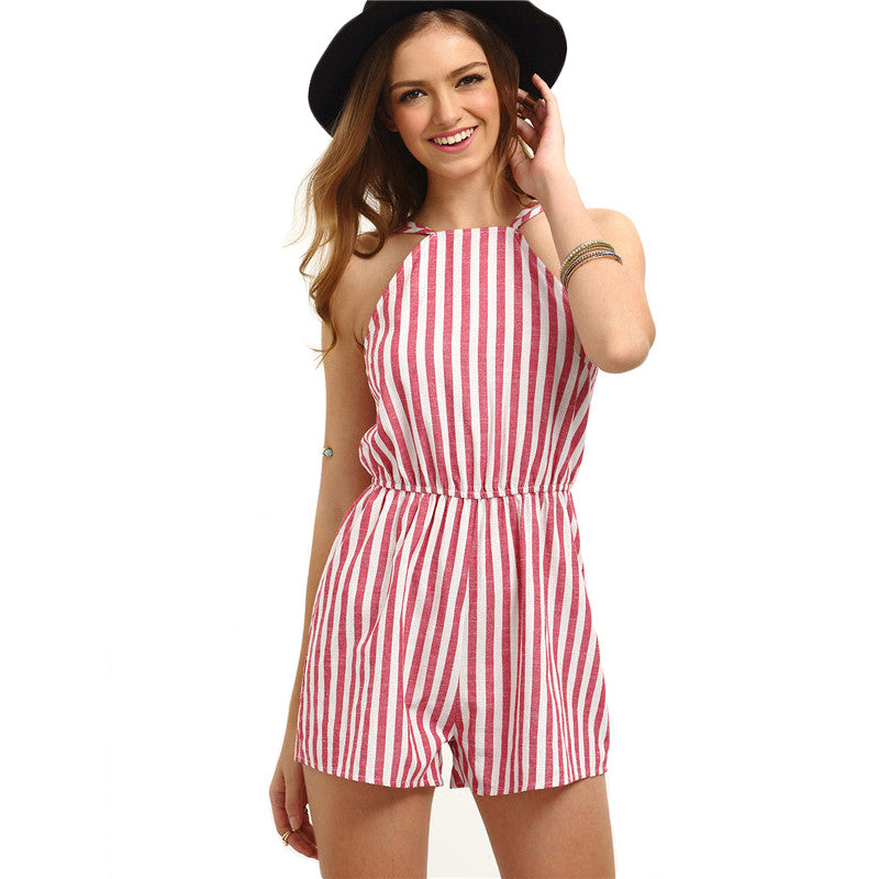Sleeveless Striped Backless Romper