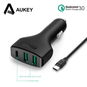 AUKEY Car Charger with USB C Port Quick Charge 3.0