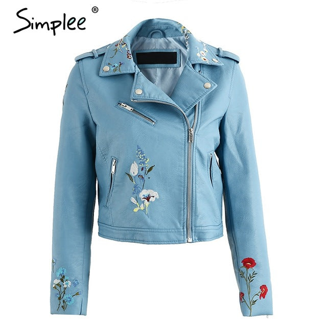 Simplee Embroidery Faux Leather Motorcycle Jacket