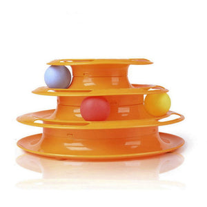Petstages Tower of Tracks Cat Toy - Triple Play Disc Cat Toy Balls