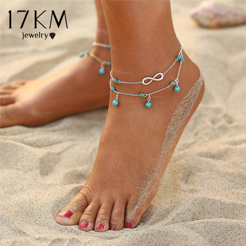 Double Layer Ankle Bracelet - INFINITY STONE BEADS ANKLET