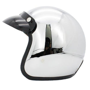 Vintage Chrome Mirrored Motorcycle Helmet