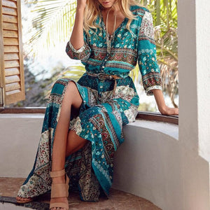 Bohemian Maxi Dress With Sleeves And Floral Print