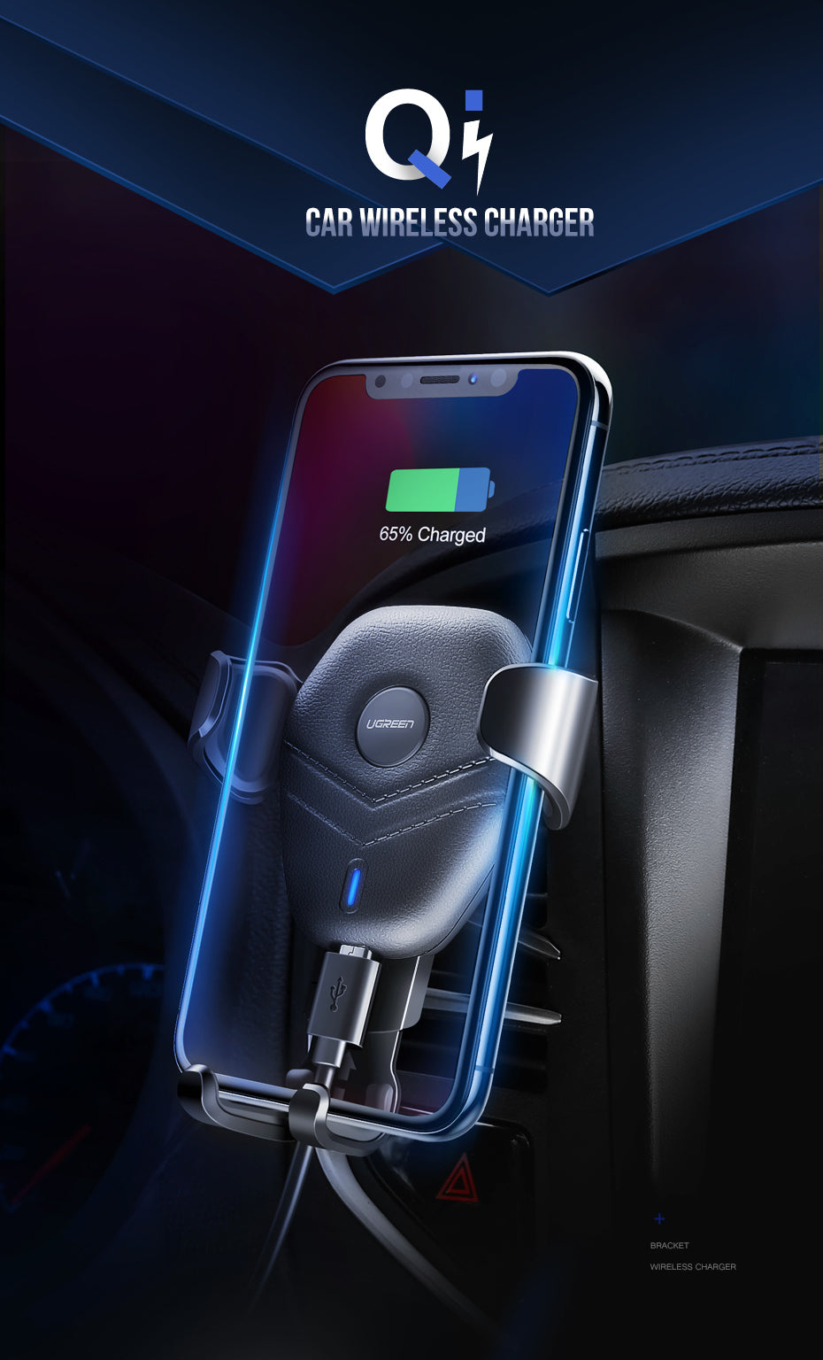 Safe & Intelligent Wireless Car Charger Mount