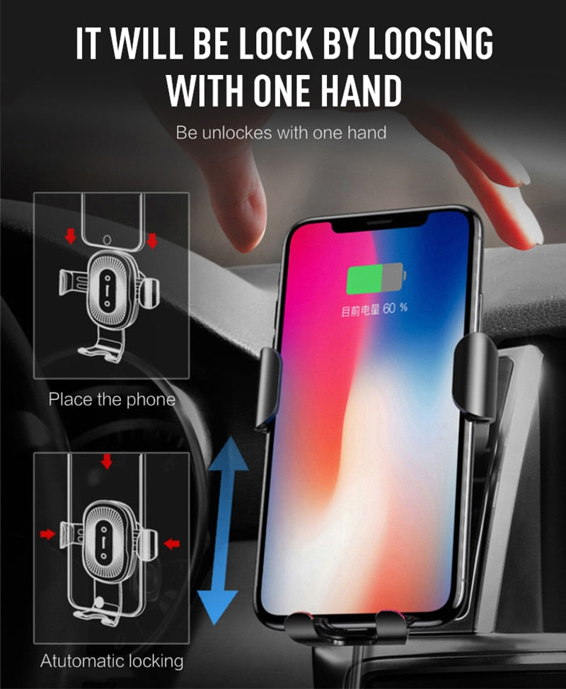 Qi Fast Wireless Car Charger - Gravity Lock System