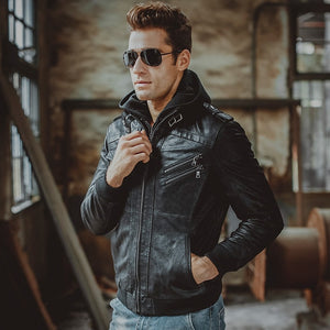 Men's Genuine Pigskin Leather Jacket With Removeable Hood