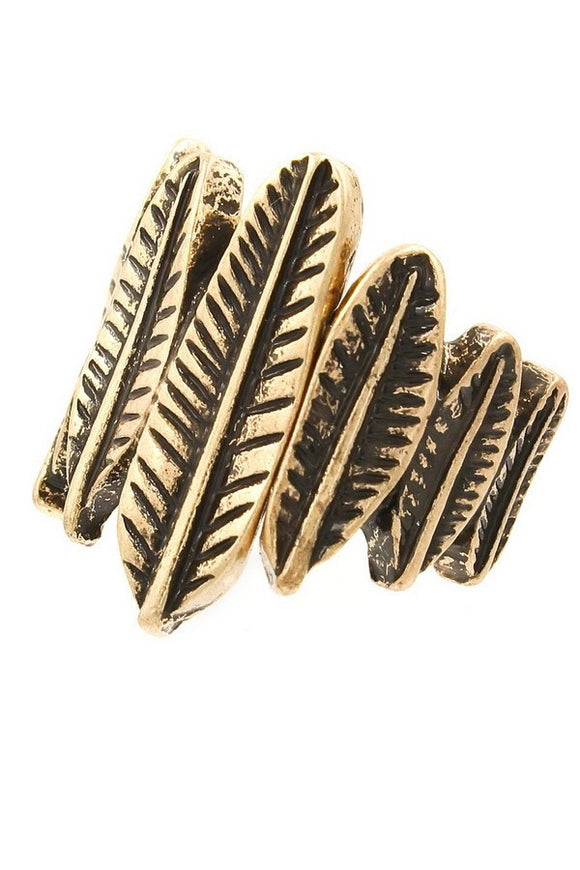 Textured metal feather stretch ring