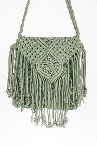 Beaded Knit Cross-body bag