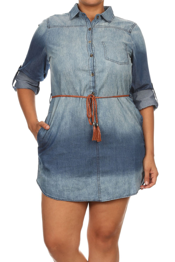 Roll-up Sleeve Relaxed Fit Mini Shirt Dress