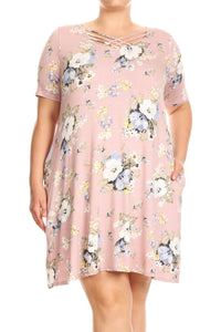 Floral Printed Jersey Knit A-line Dress