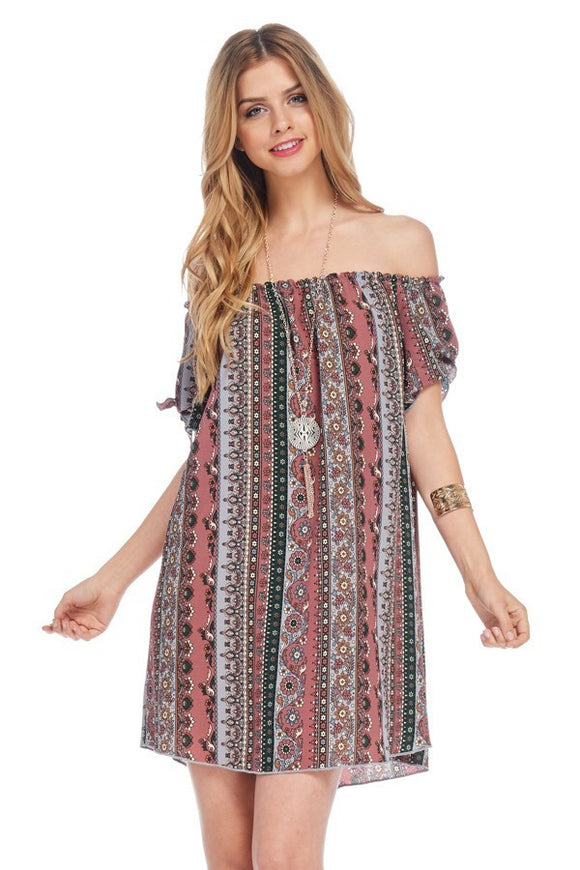 Off Shoulder Peasant Dress W/Necklace