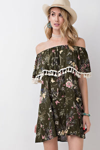 Butterfly Paradise Off Shoulder Dress