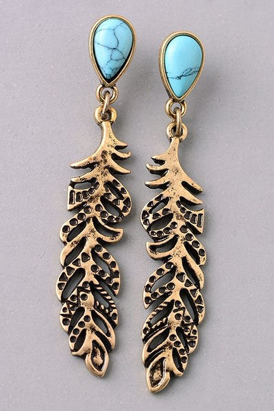 Antiqued Gold Feather and Turquoise Earring