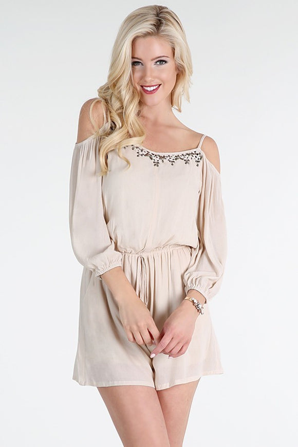 Metal Beaded Off Shoulder Romper
