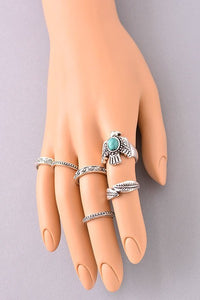 Boho Antiqued Silver Ring Set