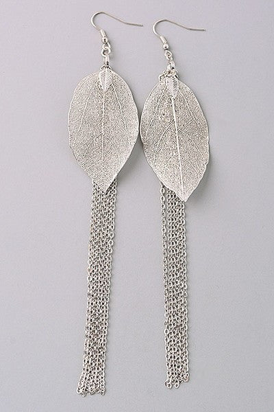 Silver Leaf Drop Earring