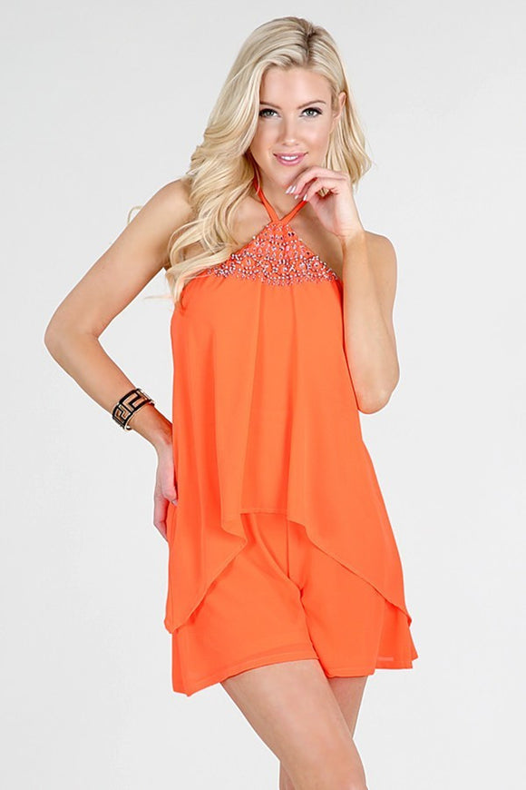 Embellished Neck Halter Layered Romper