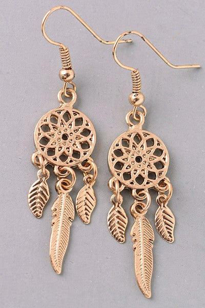 Gold Dream Catcher Earring