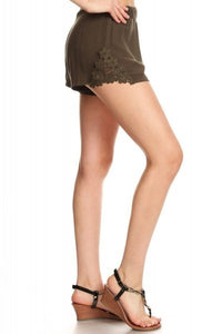 Crinkle Shorts w/Lace Trim