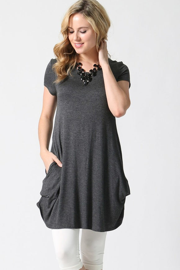 Convertible Draping Tunic Steel