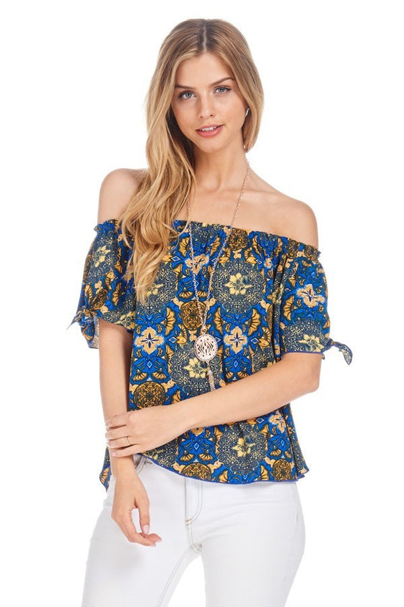Off Shoulder Knotted Sleeve Top W/Necklace