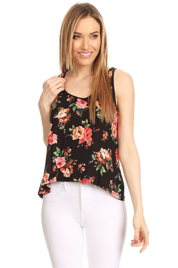 Asymmetric Cut Floral Tank Black