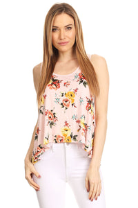 Asymmetric Cut Floral Tank Blush