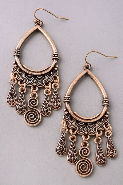 Bali Antiqued Gold Earrings