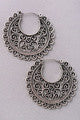 Antiqued Silver Filigree Hoop Earring