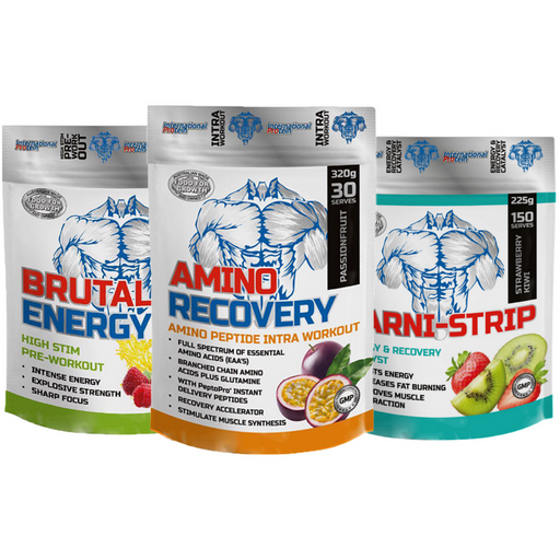Carni Strip + Amino Recovery + Brutal Energy Combo by International Protein
