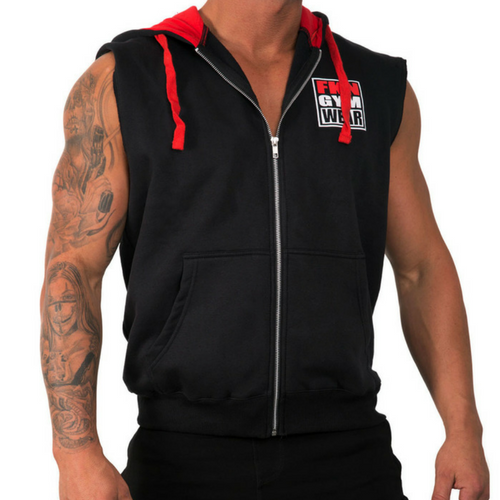 FKN Gym Wear Men's Sleeveless Hoodie - Black/Grey