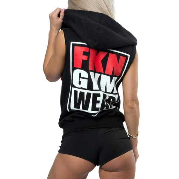 FKN Gym Wear Women's 'Gun Smuggler' Hoodie - Sleeveless Black/Grey