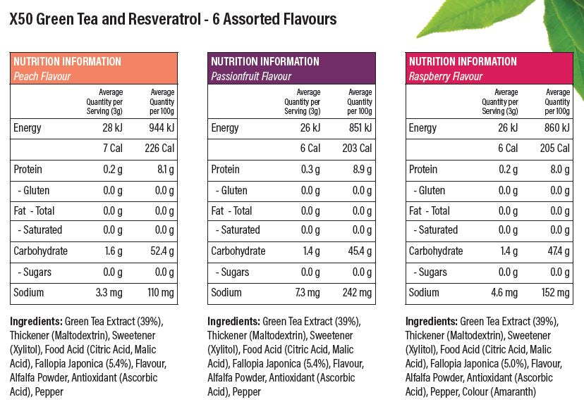 X50 Green Tea And Resveratrol 6 Assorted Flavours