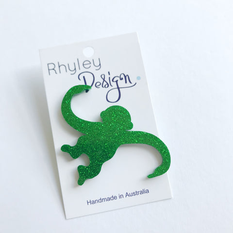 Rhyley Design: Barrel of Monkeys Brooch - Green Glitter