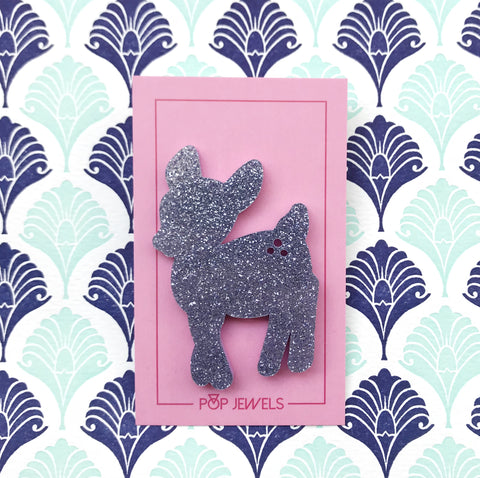 Pop Jewels: Pop Pins - Doe a Deer - Purple Glitter