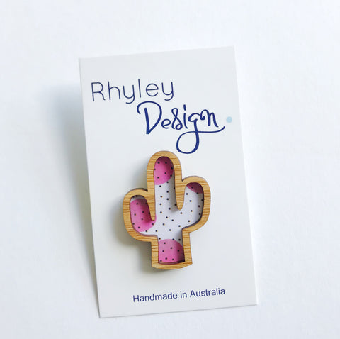 Rhyley Design: Wooden Cactus - Pink Polka Dots
