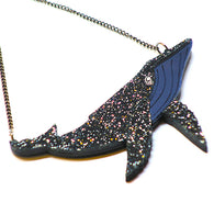 Kimchi & Coconut: Galactic Whale Necklace - Glittering Black