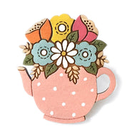 Layla Amber: Flowers In A Teapot Brooch