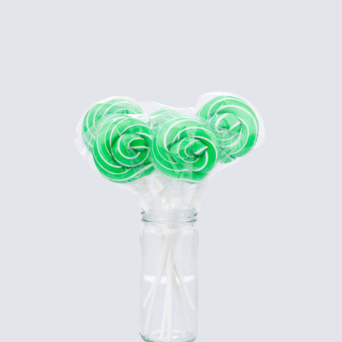 Green/White Swirl lollipops