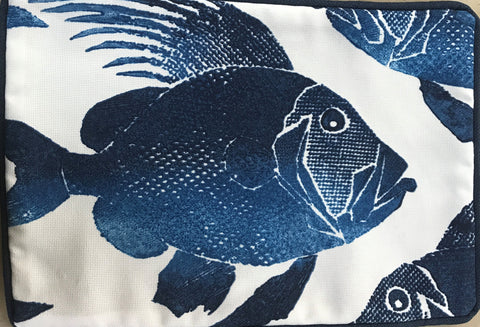 Blue Fish on White Canvas