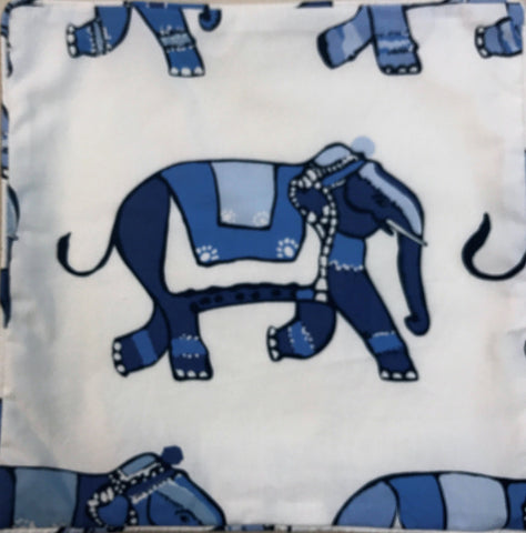 Elephant on Parade Blue on White Pillow Cover