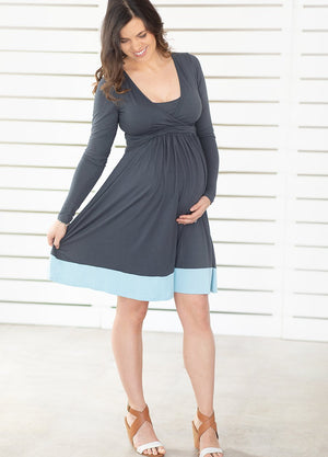 UltiMum Dress Charcoal-Duckegg Long Sleeved