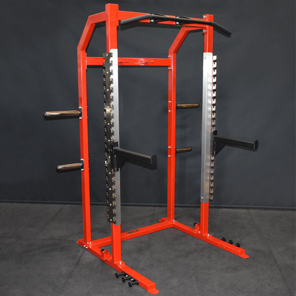 Commercial Half Rack with integrated lifting platform, J Hooks and Safety Bars