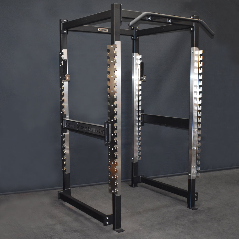 Buy heavy duty squat rack with adjustable safety bars and J Hooks