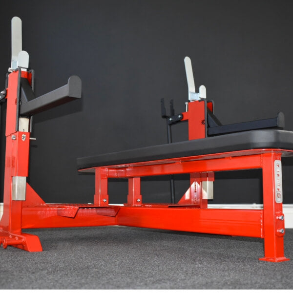 Red Competition Bench Press with safety bars UK