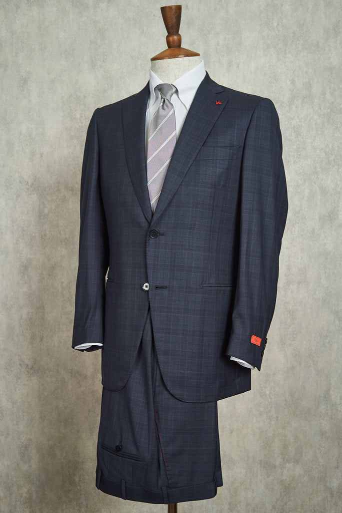 Isaia Blue Check 'Base Tribeca' Super 150's Suit