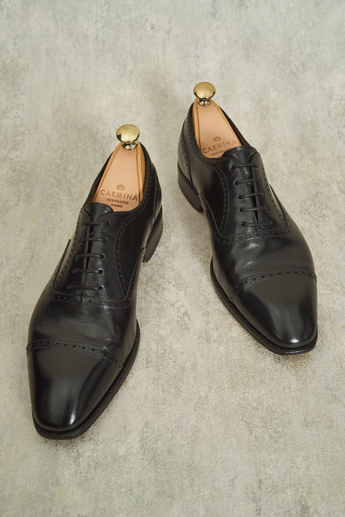 Carmina Black Calf Brogued Captoe Oxford