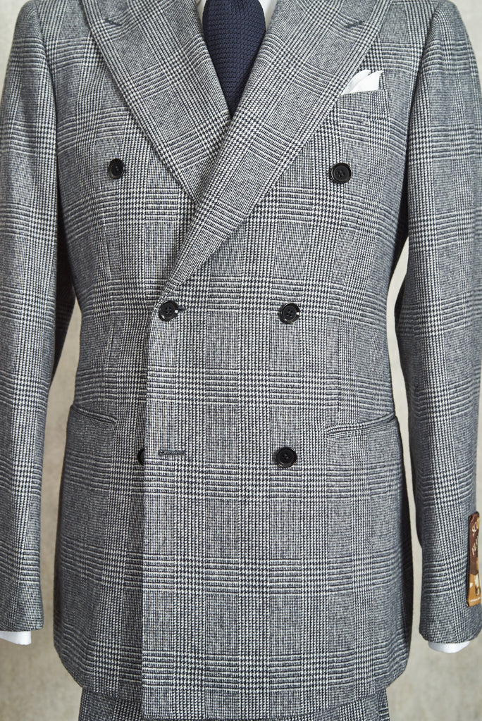 Ring Jacket 252 Scotch Flannel Glen Check Wool Double Breasted Suit