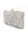 DIAMANTE CUTWORK CLUTCH-SILVER